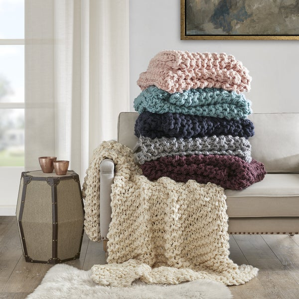 Shop Madison Park Handmade Chunky Cable Knit Throw Free Shipping