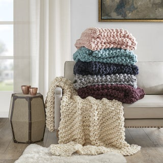 Madison Park Handmade Chunky Cable Knit Throw - 3 Color Option