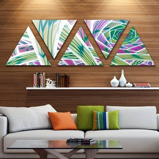 Designart 'Purple Fractal Endless Tunnel' Contemporary Triangle Canvas Art Print - 5 Panels