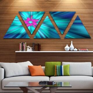 Designart 'Rotating Blue Fireworks' Floral Triangle Canvas Art Print - 5 Panels