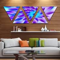 Designart 'Exotic Blue Flower Petals' Floral Triangle Canvas Art Print - 5 Panels