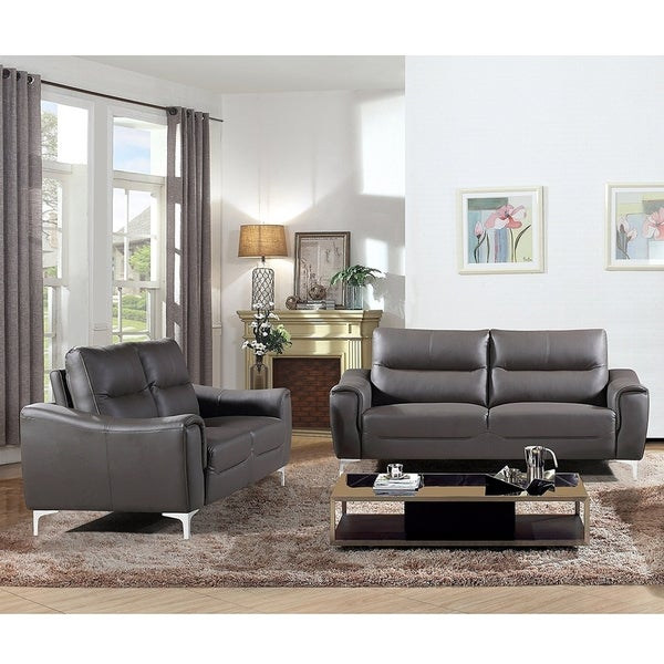 Sectional Gray Sofa Set: AC Pacific Rachel Collection Modern Style Grey Leather 2
