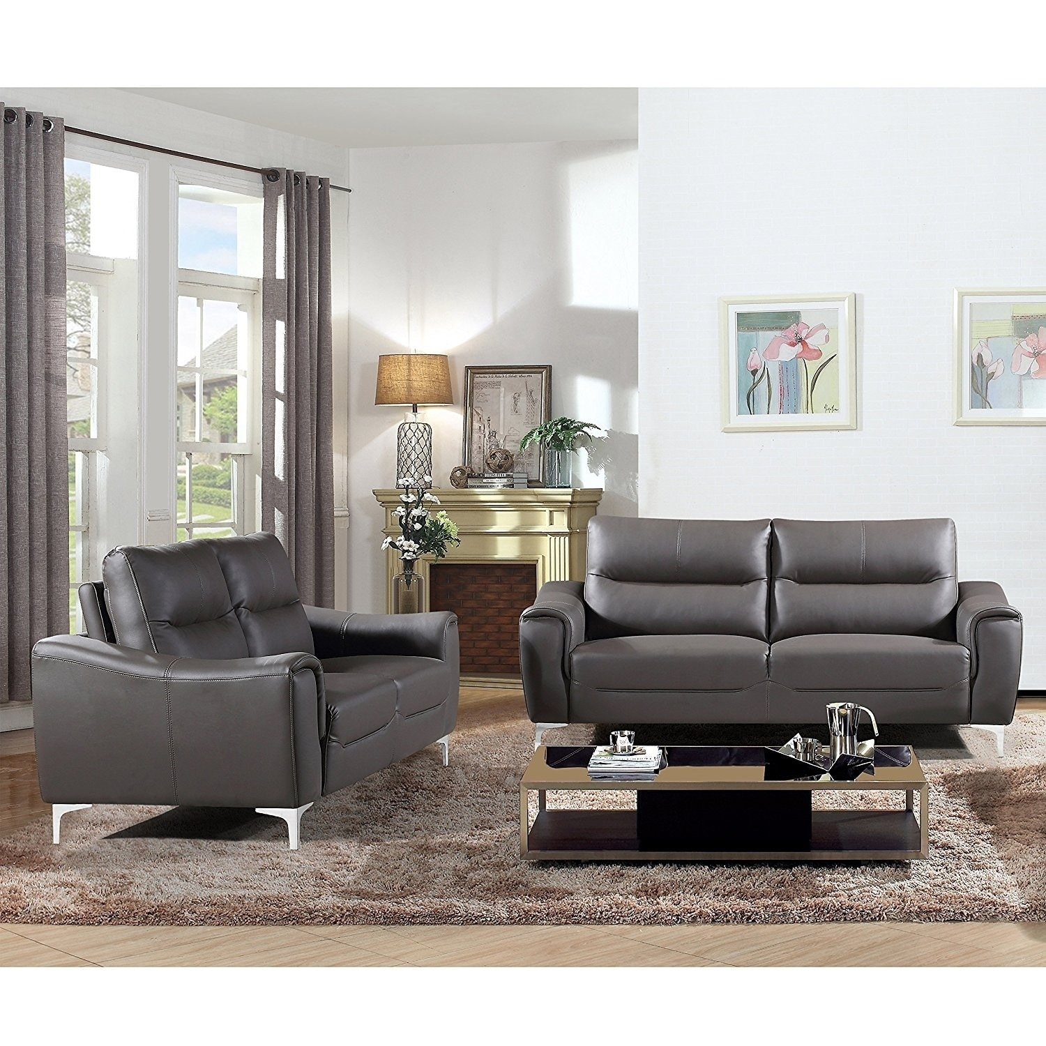 AC Pacific Rachel Collection Modern Style Grey Leather 2 Piece Living Room  Sofa And Loveseat