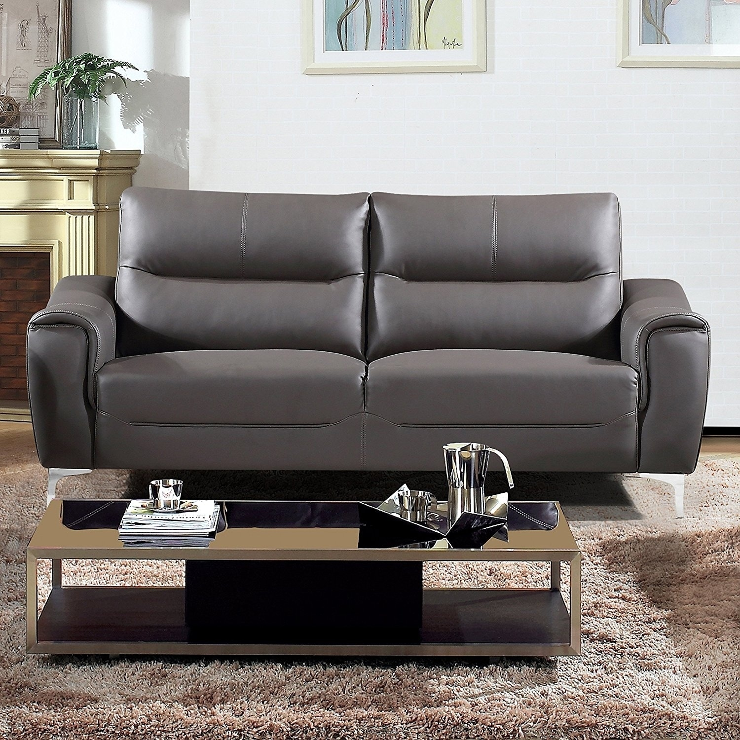 AC Pacific Rachel Collection Modern Style Grey Leather Upholstered Living Room Sofa