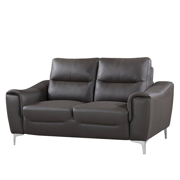 Strick & Bolton Vicente Grey Leather Gel Modern Loveseat