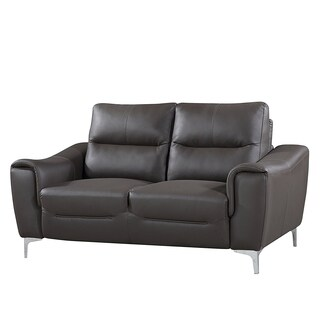 Porch & Den River Oaks Holmes Grey Leather Gel Modern Loveseat