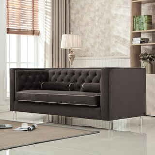 AC Pacific Victoria Collection Modern Style Luxurious Polyester Velvet Upholstered Tufted Living Room Loveseat