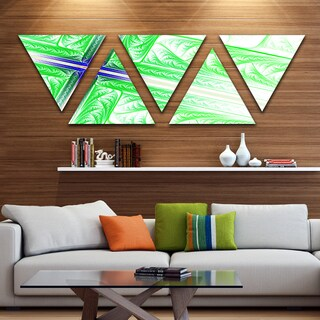 Designart 'Bright Green Fractal Cross Design' Contemporary Triangle Canvas Art Print - 5 Panels