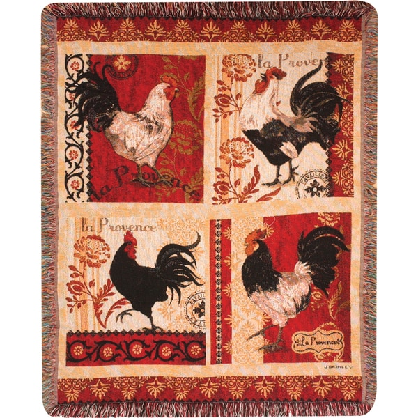 Manual Woodworkers LA Provence Roosters Tapestry Throw