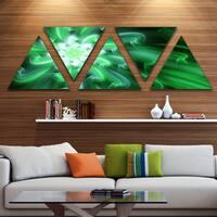 Designart 'Large Green Exotic Flower Petals' Floral Triangle Canvas Art Print - 5 Panels