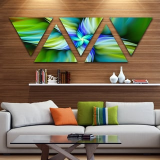 Designart 'Rotating Fractal Green Star' Floral Triangle Canvas Art Print - 5 Panels