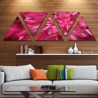 Designart 'Rotating Fractal Pink Fireworks' Floral Triangle Canvas Art Print - 5 Panels
