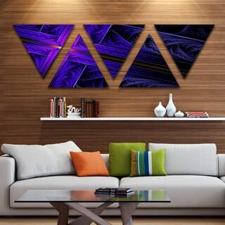 Designart 'Bright Blue Fractal Cross Design' Contemporary Triangle Canvas Art Print - 5 Panels