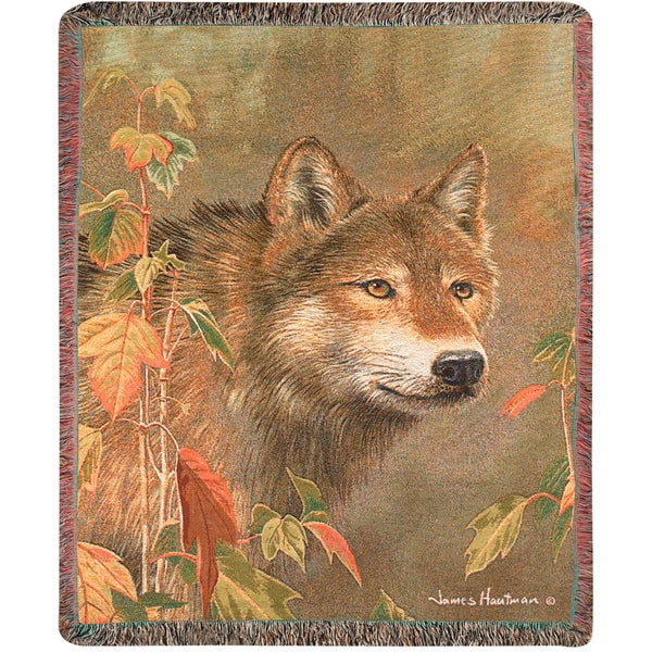 Manual Woodworkers Hidden in the Mist Wolf Tapestry Throw