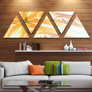 Designart 'Brown Fractal Cross Design' Contemporary Art on Triangle Canvas - 5 Panels