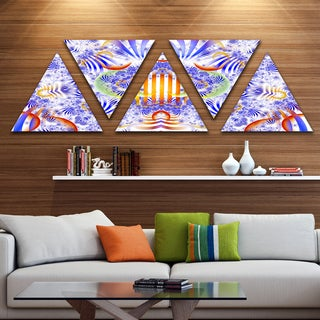 Designart 'Magical Fairy Pattern Blue' Contemporary Art on Triangle Canvas - 5 Panels