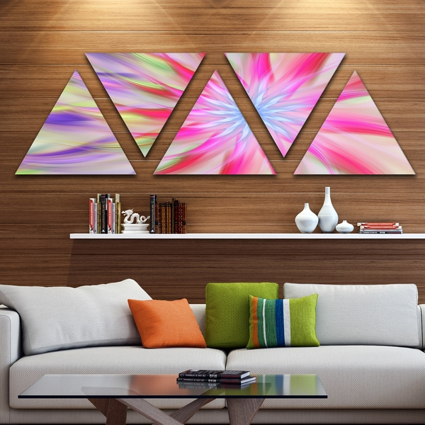 Designart 'Dance of Pink Exotic Flower' Floral Triangle Canvas Art Print - 5 Panels