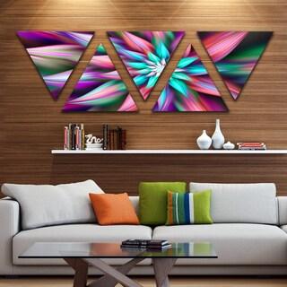 Designart 'Dance of Multi Color Exotic Flower' Floral Triangle Canvas Art Print - 5 Panels