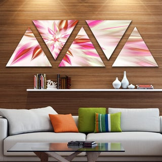 Designart 'Dance of Red Exotic Flower' Floral Triangle Canvas Art Print - 5 Panels