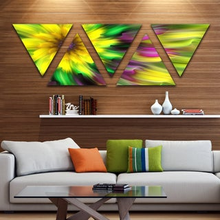 Designart 'Dance of Yellow Exotic Flower' Floral Triangle Canvas Art Print - 5 Panels