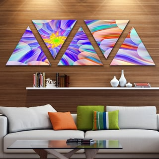 Designart 'Multi Colored Stain Glass with Spirals' Floral Triangle Canvas Art Print - 5 Panels