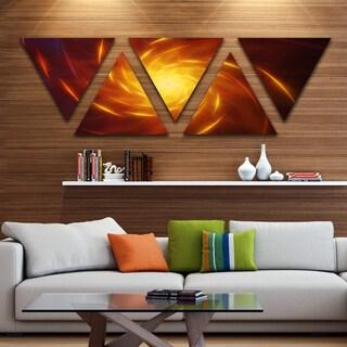 Designart 'Yellow Whirlpool Fractal Spirals' Contemporary Art on Triangle Canvas - 5 Panels