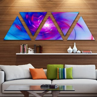 Designart 'Turquoise Whirlpool Fractal Spirals' Contemporary Art on Triangle Canvas - 5 Panels