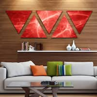 Designart 'Bright Lightning on Red Sky' Floral Triangle Canvas Art Print - 5 Panels