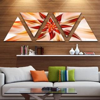 Designart 'Dance of Brown Exotic Flower' Floral Triangle Canvas Art Print - 5 Panels