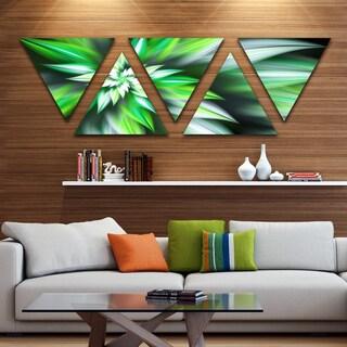 Designart 'Dance of Green Exotic Flower' Floral Triangle Canvas Art Print - 5 Panels