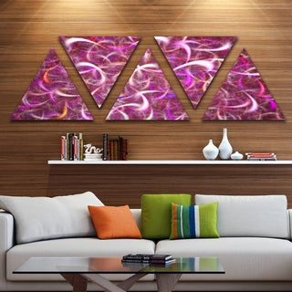 Designart 'Pink Watercolor Fractal Pattern' Contemporary Art on Triangle Canvas - 5 Panels