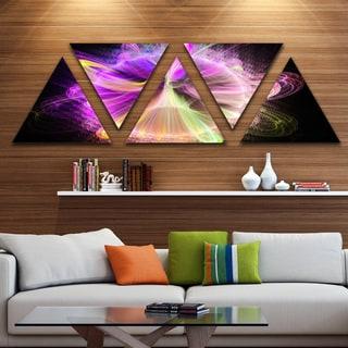 Designart 'Purple Circle with Amazing Curves' Floral Triangle Canvas Art Print - 5 Panels