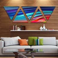 Designart 'Beautiful Fractal Rainbow Waves' Floral Triangle Canvas Art Print - 5 Panels