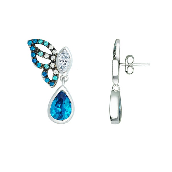 f03500c78 Sterling Silver Butterfly earrings decorated with Aquamarine Cubic Zirconia  - Blue