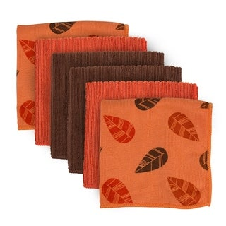 Orange Leaves Microfiber Dishcloth (Set of 6)