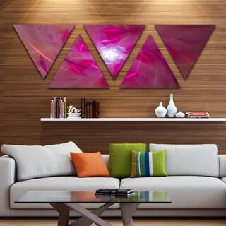 Designart 'Pink Fractal Whirlpool Design' Contemporary Wall Art Triangle Canvas - 5 Panels