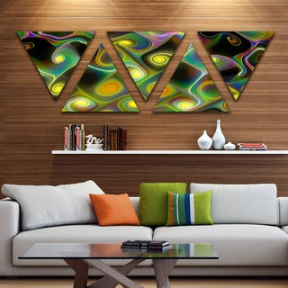 Designart 'Yellow Fractal Pattern with Swirls' Contemporary Wall Art Triangle Canvas - 5 Panels