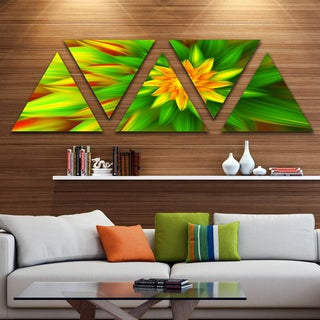 Designart 'Amazing Dance of Green Petals' Floral Triangle Canvas Art Print - 5 Panels