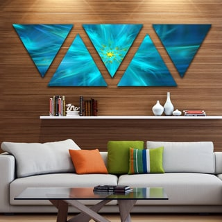 Designart 'Amazing Dance of Blue Petals' Floral Triangle Canvas Art Print - 5 Panels