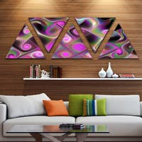 Designart 'Pink Fractal Pattern with Swirls' Contemporary Wall Art Triangle Canvas - 5 Panels