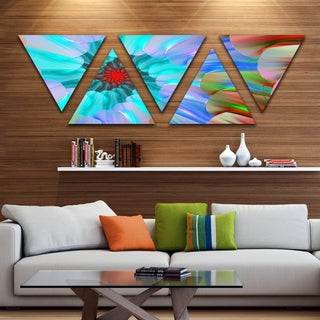 Designart 'Blue Colored Stain Glass with Spirals' Floral Triangle Canvas Art Print - 5 Panels