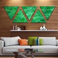 Designart 'Mystic Green Fractal Veins' Contemporary Triangle Canvas Art Print - 5 Panels