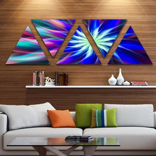 Designart 'Dance of Bright Spiral Blue Flower' Floral Triangle Canvas Art Print - 5 Panels