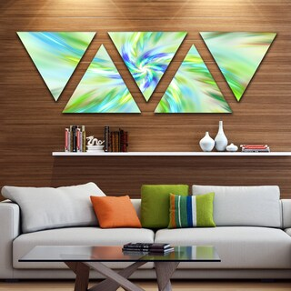Designart 'Dance of Bright Spiral Green Flower' Floral Triangle Canvas Art Print - 5 Panels