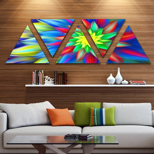 Designart 'Dance of Bright Multi Color Flower' Floral Triangle Canvas Art Print - 5 Panels