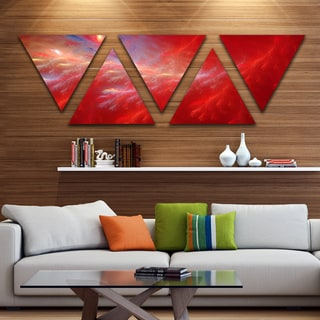 Designart 'Mystic Red Thunder Sky' Contemporary Triangle Canvas Art Print - 5 Panels