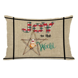 Joy to The World Owl Plaid - Multi 16 or 18 Inch Throw Pillow by Pinklight Studio - April Heather Art