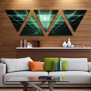 Designart 'Light Green Bat on Radar Screen' Contemporary Triangle Canvas Art Print - 5 Panels
