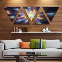 Designart 'Shining Multi Color Exotic Flower' Floral Triangle Canvas Art Print - 5 Panels