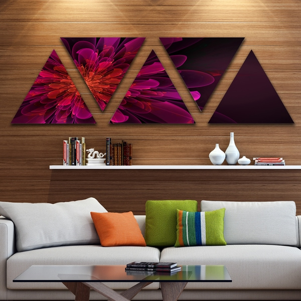 Designart 'Large Pink Alien Fractal Flower' Floral Triangle Canvas Art Print - 5 Panels